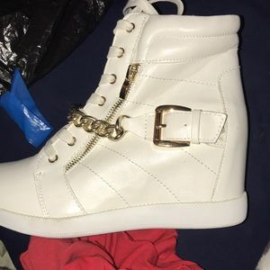 White Wedge sneakers from Just Fab Worn once